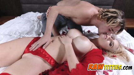 Hot blonde gets fucked around with her tits before her pussy s demolished