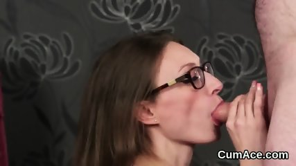 Spicy model gets jizz shot on her face swallowing all the cream
