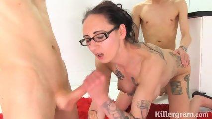 Tattooed Lady Takes Cocks