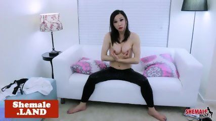Solo ladyboy plays with her hard dick