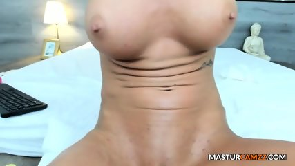 Lustful Shaved Busty Playing With Her Gash