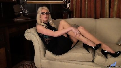 Girl With Glasses And Stockings Plays With Her Pussy - scene 1
