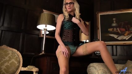 Girl With Glasses And Stockings Plays With Her Pussy - scene 3