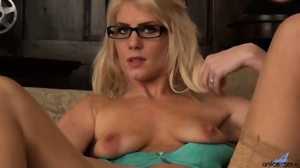 Girl With Glasses And Stockings Plays With Her Pussy - scene 5