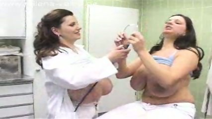 Patient examines her doctors huge boobs. - scene 6