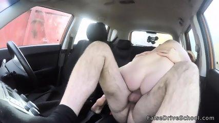 Natural huge tits driving student bangs