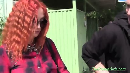 Two Dudes Pick Up a Redhead Babe