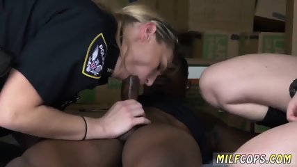 Two blondes one brunette hot trio Black suspect taken on a raunchy ride