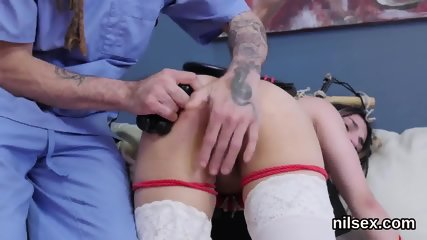 Nasty chick is taken in anal asylum for painful treatment
