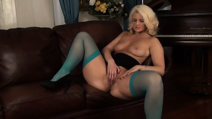 Blue Stockings On Horny Blonde's Legs
