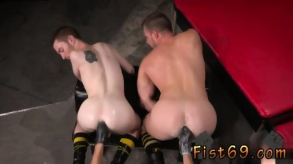 Fisting gay twink Seamus O Reilly is stacked on top of Brian Bonds atop a padded