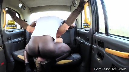 Two guys fucks blonde taxi driver