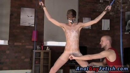 Boy young rubber extreme bondage gay Kieron Knight loves to deep-throat the red-hot cum