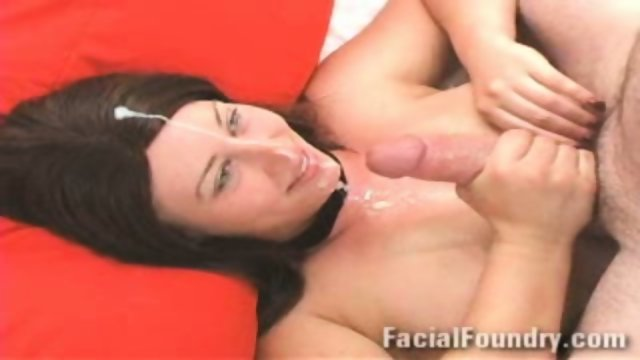 Hot cumshot on her face
