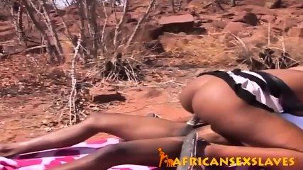 Horny ebony beauty bouncing hard on a dick outdoors - scene 9