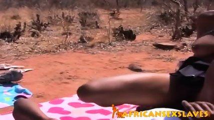 Horny ebony beauty bouncing hard on a dick outdoors - scene 10