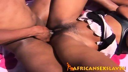 Horny ebony beauty bouncing hard on a dick outdoors - scene 12