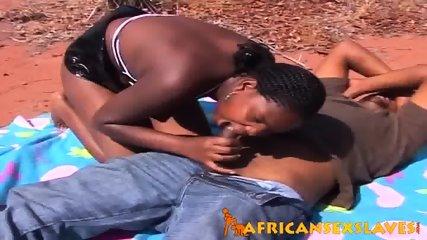 Horny ebony beauty bouncing hard on a dick outdoors - scene 1