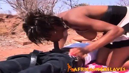 Horny ebony beauty bouncing hard on a dick outdoors - scene 3