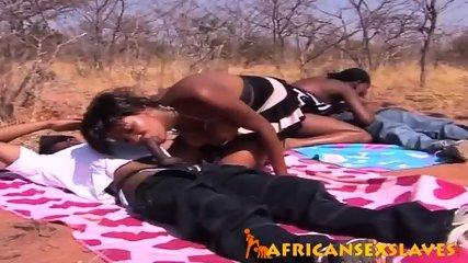 Horny ebony beauty bouncing hard on a dick outdoors - scene 4