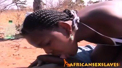 Horny ebony beauty bouncing hard on a dick outdoors - scene 5