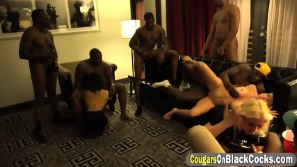 Relentless blonde cougar got her mouth fucked full by black guys - scene 9