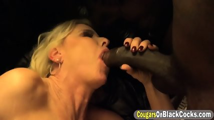 Relentless blonde cougar got her mouth fucked full by black guys - scene 11