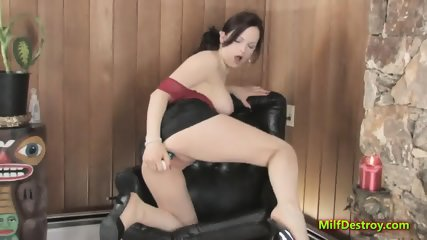Lusty MILF is playing with a sex toy - scene 6