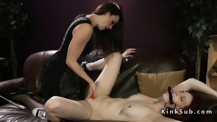 Redhead lesbian in chains anal fucked - scene 3
