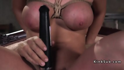Gagged busty blonde slave anal fucked - scene 12