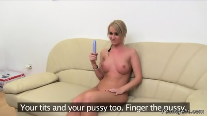 Female agent helps blonde masturbates - scene 8