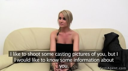 Female agent helps blonde masturbates