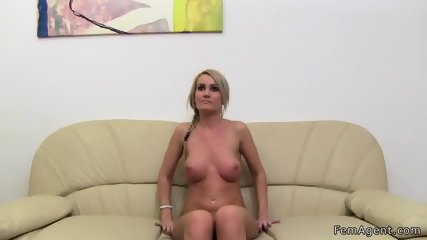 Female agent helps blonde masturbates - scene 6