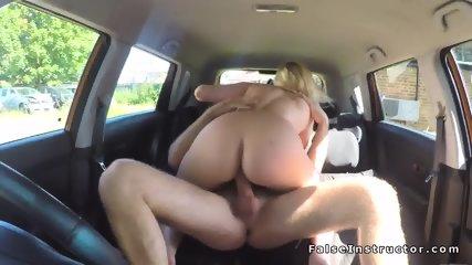 Big tits blonde driving examiner fucking - scene 10