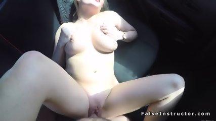 Big tits blonde driving examiner fucking - scene 11