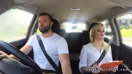 Big tits blonde driving examiner fucking - scene 3