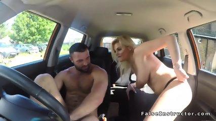 Big tits blonde driving examiner fucking - scene 5