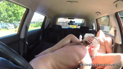 Big tits blonde driving examiner fucking - scene 7