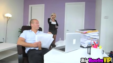 Gorgeous big boobs boss Sunny caught employee wanking - scene 3