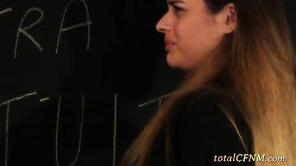 Big Boobs Tutor Teaches Schoolgirls Handjob