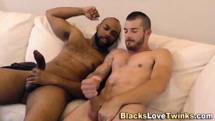 Hung Black Dude Tugs Cock