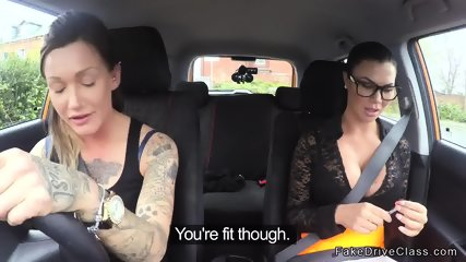Huge tits examiner fucks lesbian student