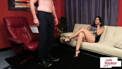 Voyeur toys pussy during jerkoff instructions