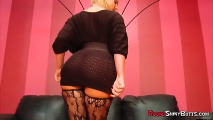 Big Booty Blonde in Stockings Gives Head
