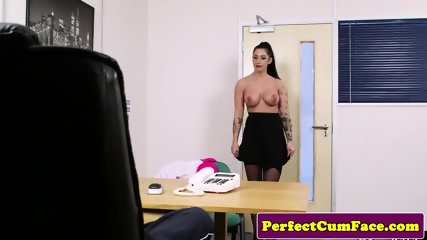 Busty english babe cum drenched in office