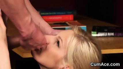 Horny beauty gets cumshot on her face swallowing all the semen
