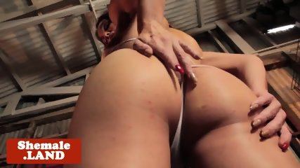 Busty tgirl solo tugging her hard cock
