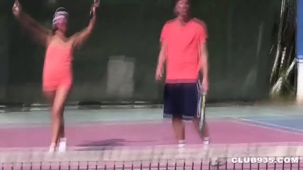 Foursome on the Tennis Court