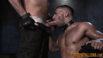 Caged muscled hunk freed