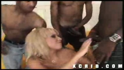 Hot ass blond sucks 4 big black dicks - scene 7